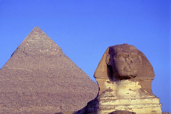 The Great Sphinx with Khafra Pyramid