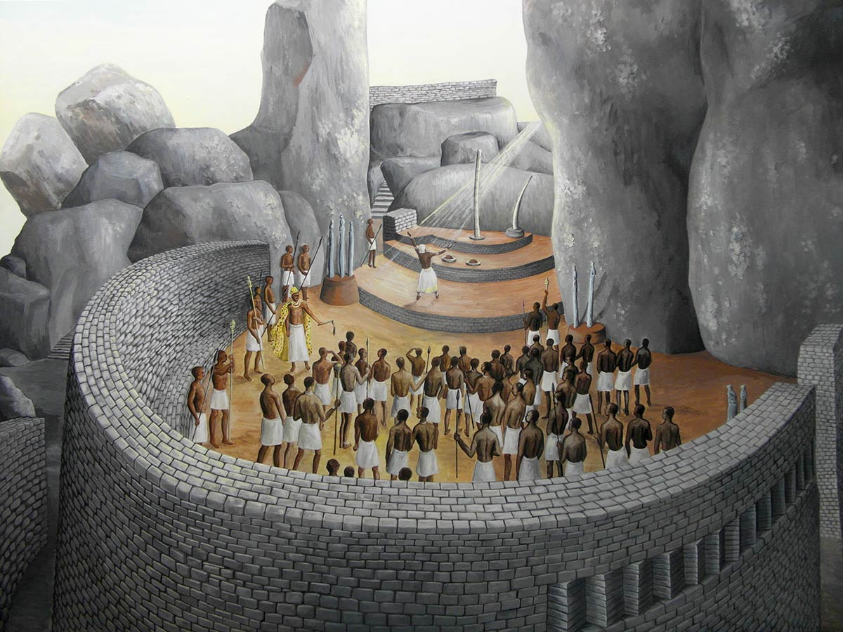Great Zimbabwe Possible use of hill top shrine; artist reconstruction