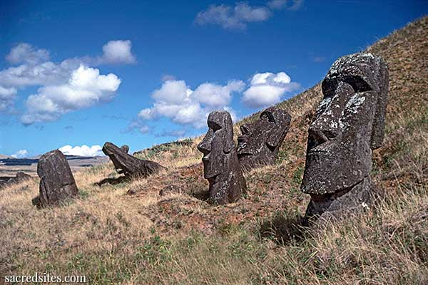 The Moai statues of  Easter Island (Rapa Nui)