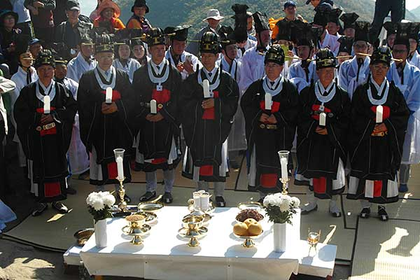 Taoist officials at ceremony on Mani San sacred mountain, Korea