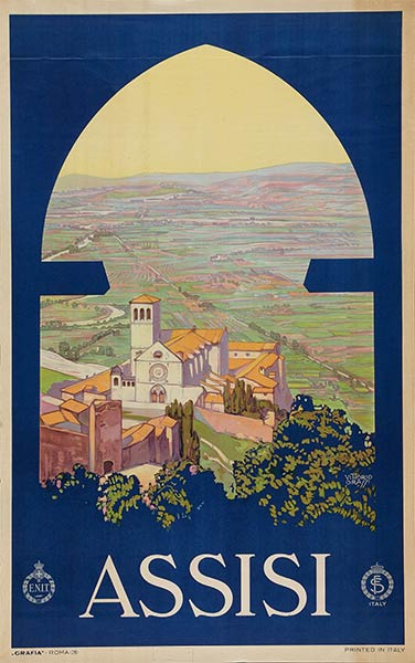 Assisi Vintage Travel Poster