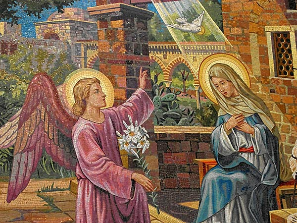 sicily palermo santuario santa rosalia montepellegrino mosaic of mary and angel