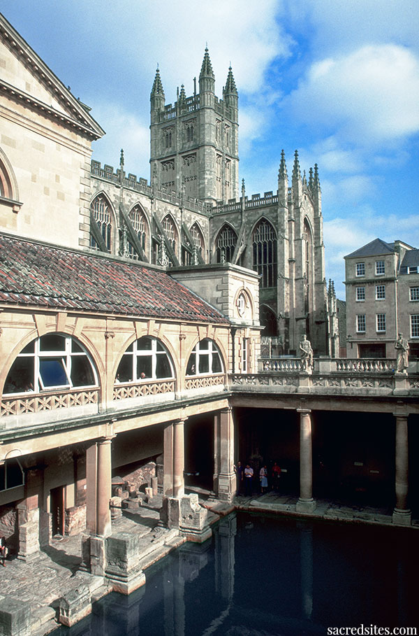 The hot springs of the Roman temple of Aquae Sulis and the Abbey of Bath, England