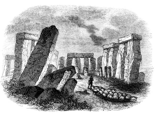 Lithograph of Stonehenge before reconstruction