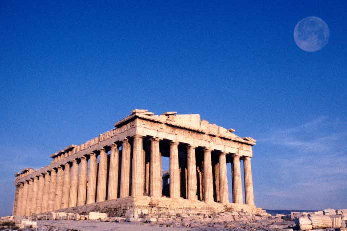 Moonrise over the Parthenon, the Acropolis, Athens, Greece