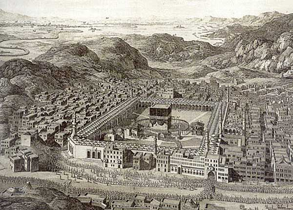 The Hajj pilgrimage to the Ka'ba in antiquity.  At the bottom of the drawing notice the line of pilgrims entering the front of the Great Mosque. In the upper left corner of the drawing that line may be seen extending for many miles into the distance.