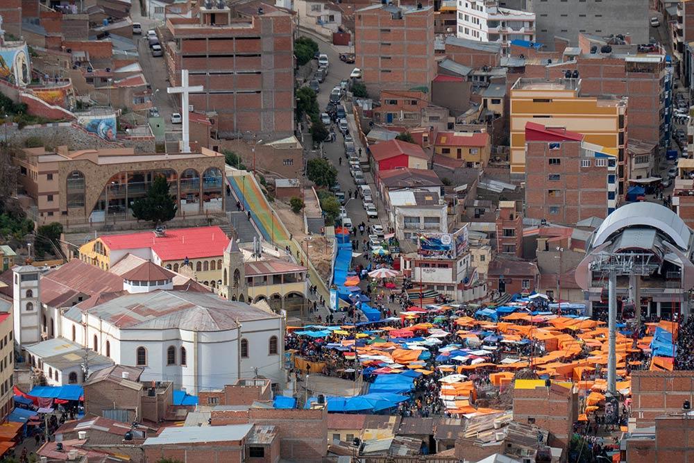 Santuario de Virgen de Socavón zur Zeit des Oruro-Festivals, März 4, 2019