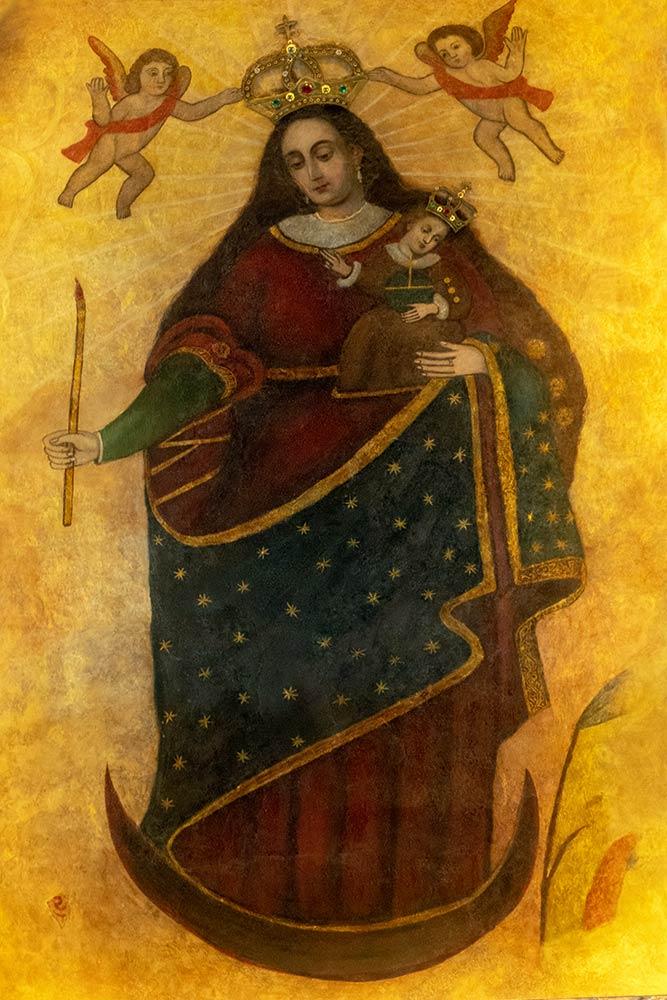 Bild von Maria mit Jesuskind auf dem Hauptaltar, Santuario de Virgen de Socavón, Oruro