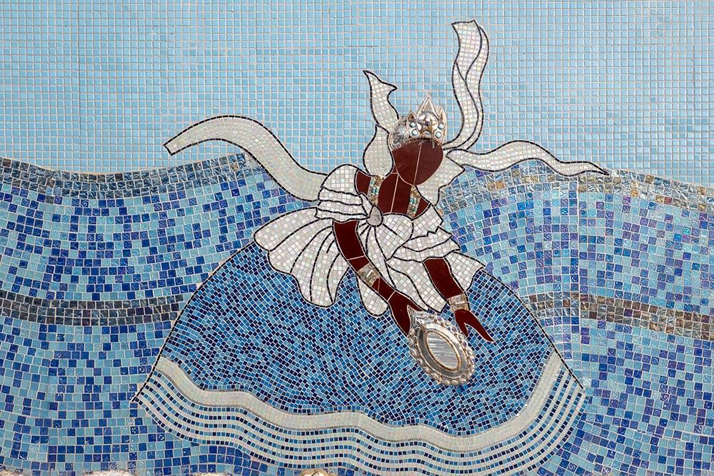 Rio Vermelho, Matriz de Santana Church, Mosaik der Orisha Umbanda-Naturgöttin Imenja auf Seite der Kirche, Salvador