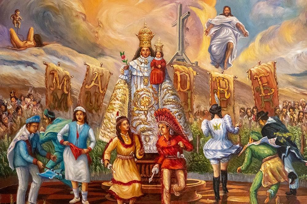 बेसिलिका, एन्डासोलो, एंडाकोलो के बेसिलिका के अंदर त्योहार की पेंटिंग