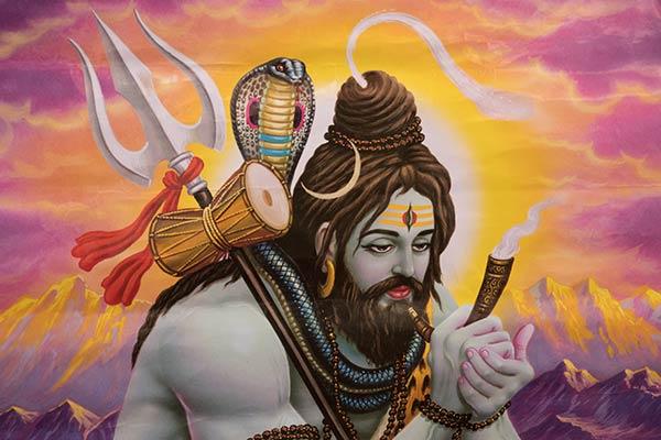 Gemälde von Shiva, der Ganja raucht (Haschisch), Adinath Mandir