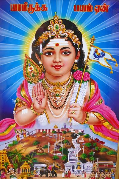 Gemälde von Muruga im Tempel von Palni, Tamil Nadu