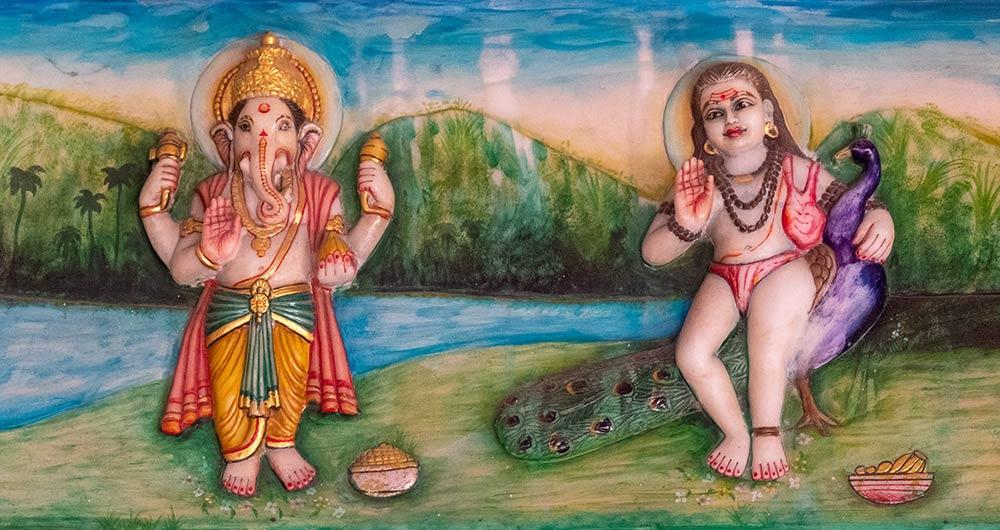 Pintura de Baba Garib Nath con Ganesh, Templo Baba Garib Nath, Raipur Maidan