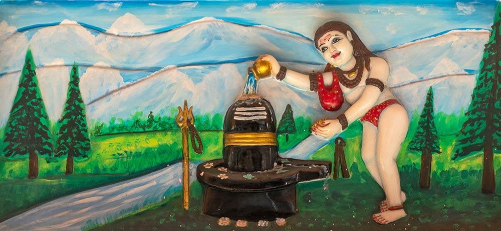 Pintura de Baba Garib Nath haciendo ceremonia en Shiva Lingam, Templo Baba Garib Nath, Raipur Maidan