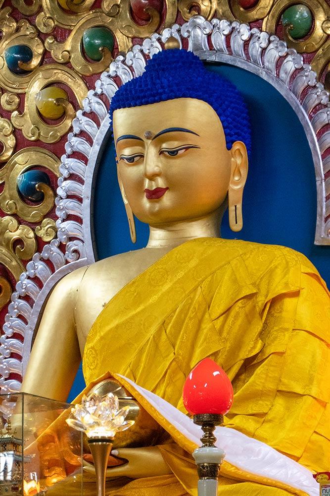 Estatua de Buda en el Templo Dalai Lama, Monasterio Namgyal, McLeod Ganj, Dharamshala