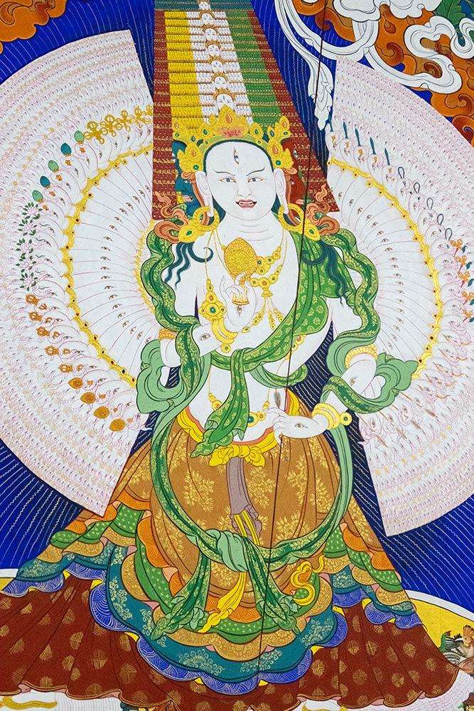 Dipinto di Ushnisha Sitatapatra, Dea dell'ombrello bianco, Tempio del Dalai Lama, Monastero di Namgyal, McLeod Ganj, Dharamshala