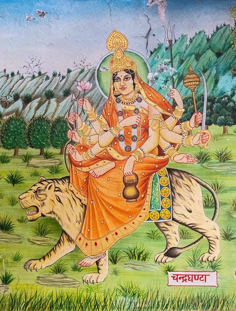 Dipinto della dea Chamunda Devi nel tempio di Jwaladevi