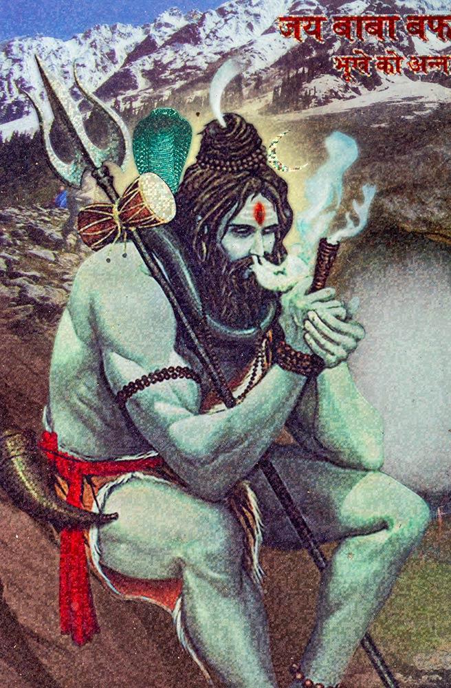 Pintura de Shiva fumando hierba sagrada Ganga (hachís) en el Templo de la Cueva Amarnath Shiva