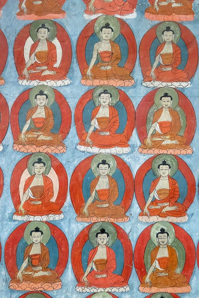 Wandmalereien von Buddha, Alchi Gompa
