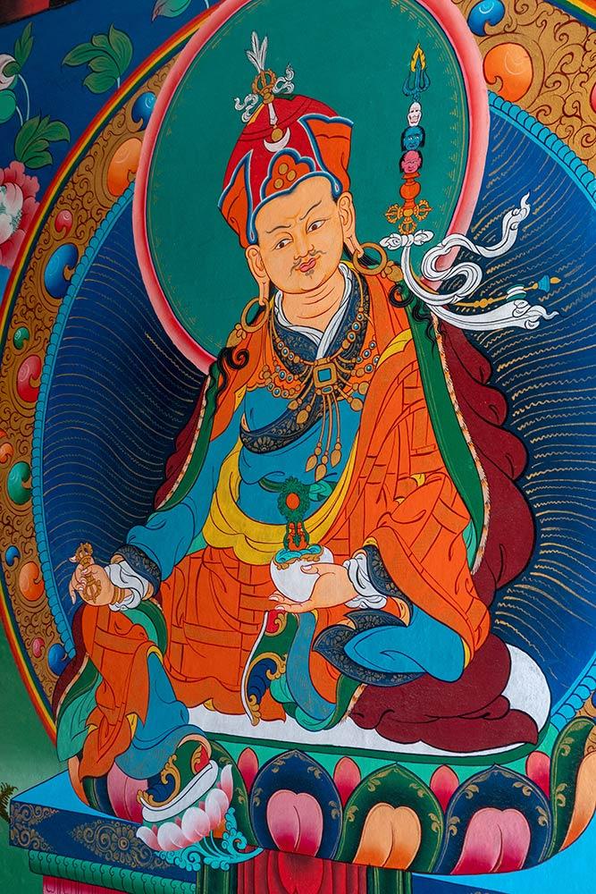 Gemälde von Padmasambhava, in der Nähe von Takthog Gompa
