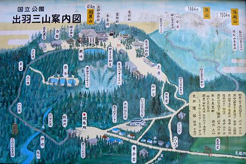 Haguro San, gemalte Karte des Berges