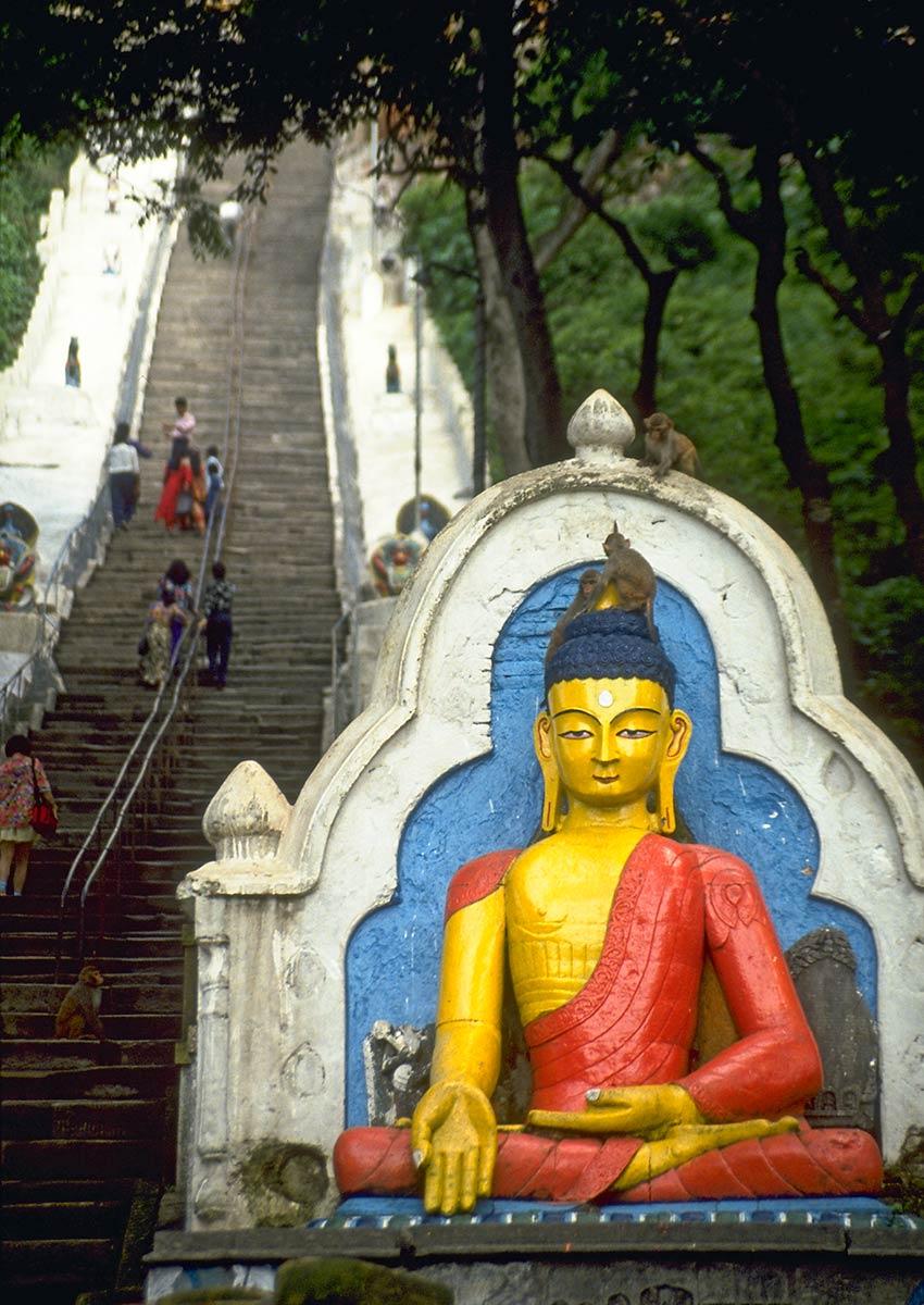 Escalier menant à Swayambhunath Stupa, Katmandou, Népal