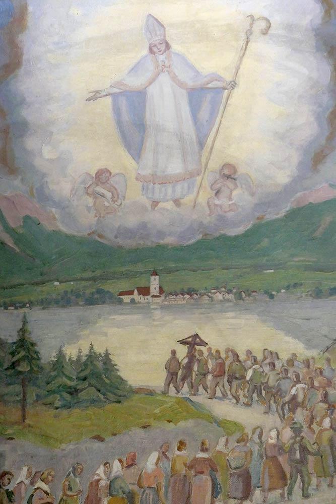 Dipinto di pellegrini che camminano fino alla chiesa di St. Wolfgang