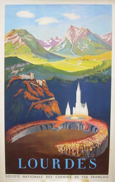 cartel del viaje del vintage de lourdes