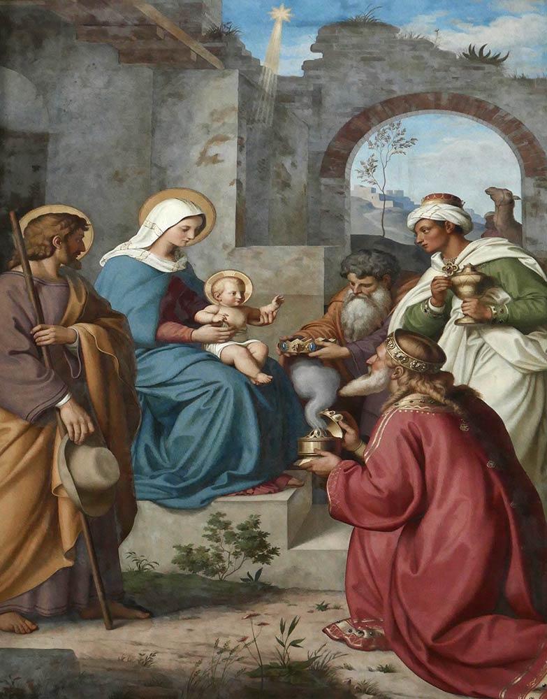 Cathédrale de l'Assomption et de Saint-Étienne, Speyer. Mosaïque de Marie tenant l'enfant Jésus avec trois hommes sages.