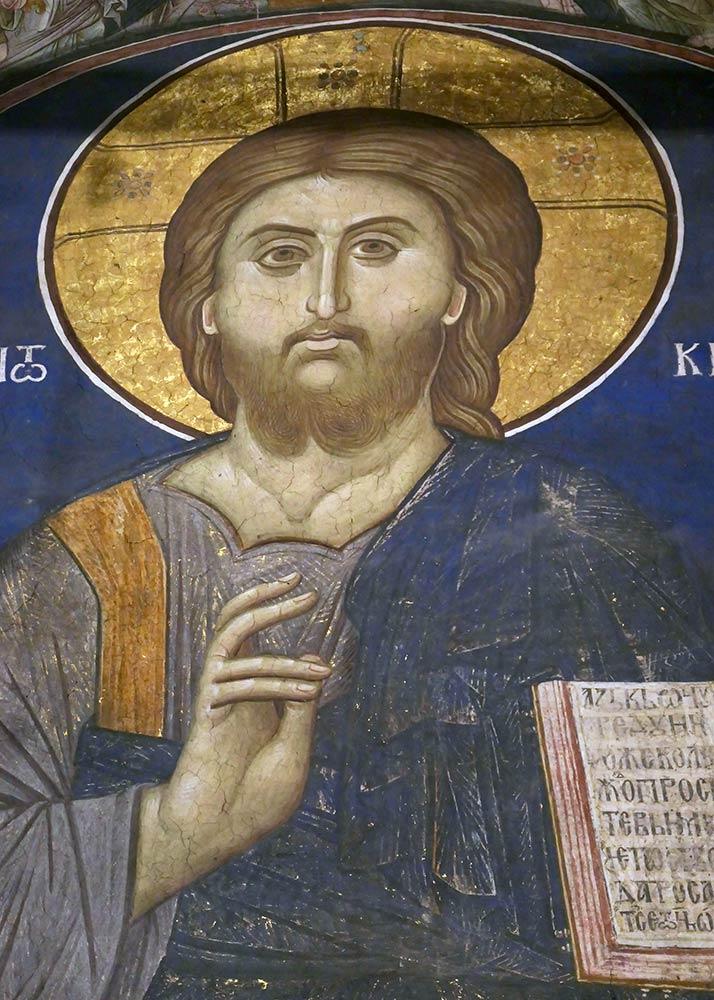 Visoki Decani Monastery, pintura de Jesus dentro do monastério