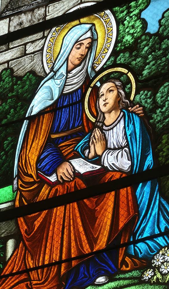 Levoca; Basilica della Visitazione della Vergine Maria, vetrata di Maria e Gesù bambino