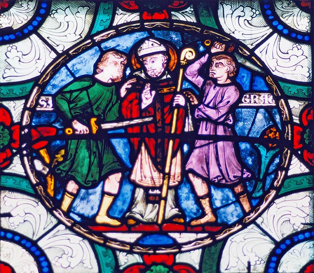 कैंटरबरी कैथेड्रल, कैंटरबरी, इंग्लैंड। 1170 में थॉमस बेकेट की शहादत को दर्शाने वाली छवि।