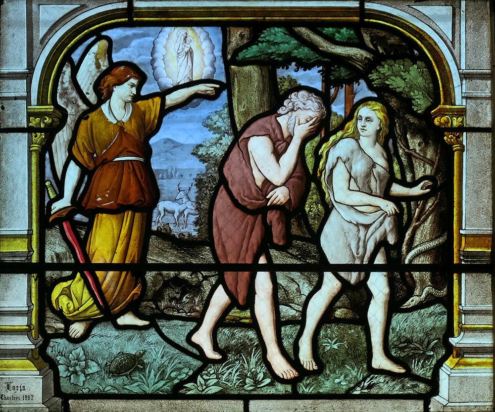 Kirche von Saint-Aignan, Chartres. Vertreibung von Adam und Eva aus dem Garten Eden.