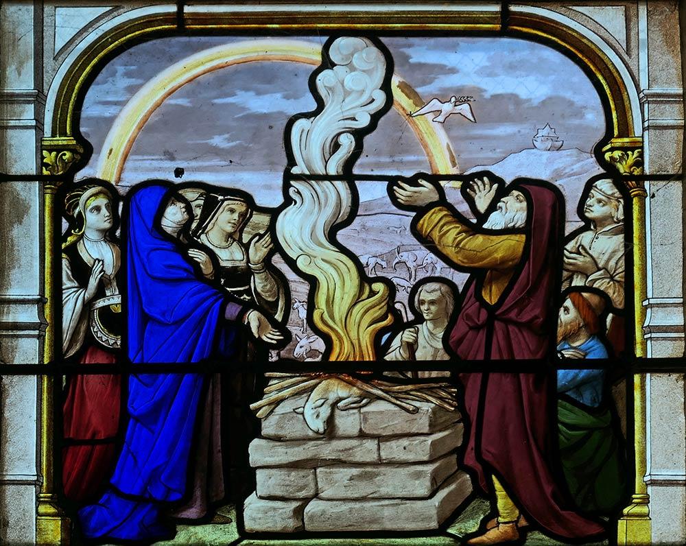 Церковь Сент-Эньян, Шартр. Моисей сжигает золотого тельца. Исход 32.