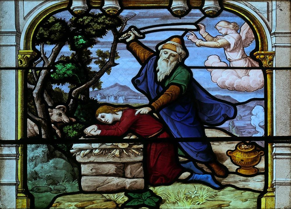 Kirche von Saint-Aignan, Chartres. Abraham bereitet sich darauf vor, seinen Sohn Isaak auf Befehl Gottes auf dem Berg Moriah zu opfern. Genesis 22.