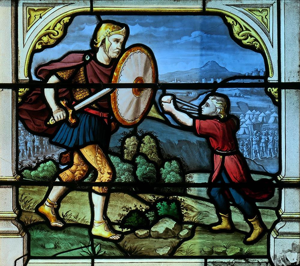 Церковь Сент-Эньян, Шартр. Образ Давида, сражающегося с Голиафом, 1 Самуил 17