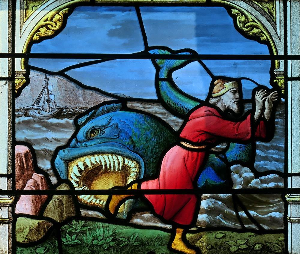 चर्च ऑफ सेंट-आइगन, चार्टर्स। जोनाह की छवि और हिब्रू बाइबिल में जोनाह की पुस्तक से व्हेल।