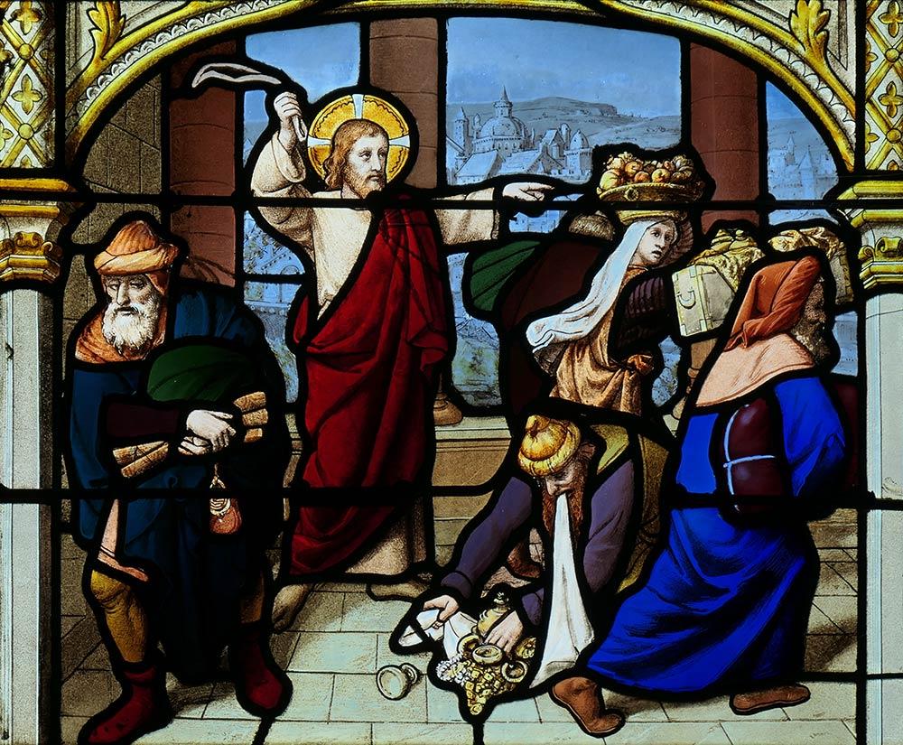 चर्च ऑफ सेंट-आइगन, चार्टर्स। मंदिर से पैसे बदलने वालों को निष्कासित करने की यीशु की छवि। कथा सिनोप्टिक गॉस्पेल के अंत में (मैथ्यू 21: 12-17, मार्क 11: 15-19, और ल्यूक 19: 45-48 पर) और जॉन 2: 13-16 के सुसमाचार में होता है।