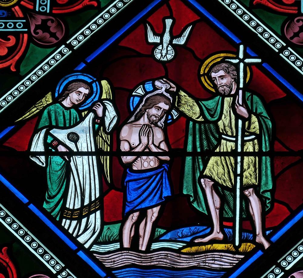Église सेंट-ब्लाइस, ले कॉवेंट। सेंट जॉन जॉन बैपटिस्ट द्वारा जॉर्डन नदी में यीशु का बपतिस्मा। मरकुस १:११