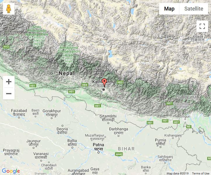 Mapa de Budhanilkantha